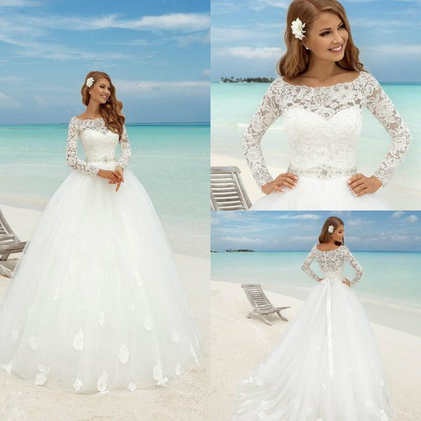 2019 Ivory White Wedding Dresses Bateau Neck Lace Appliqued A Line Long Sleeve Beach Wedding Dress With Sash Crystal Rhinestone Bridal Gowns