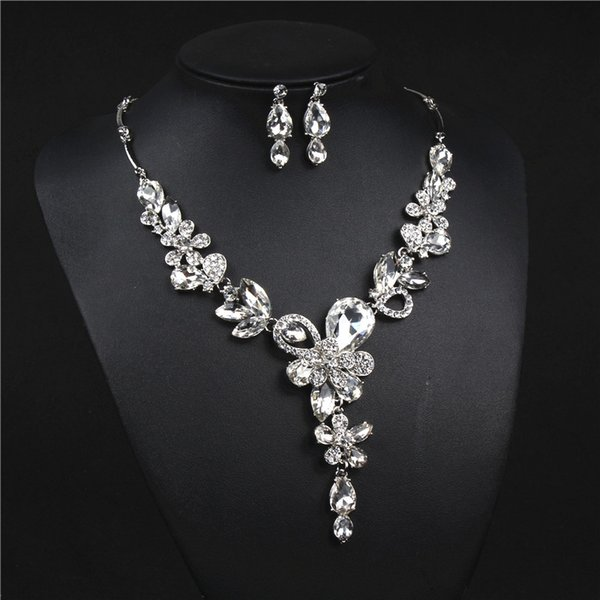 Shinning Champagne Silver Flower Bridal Jewelry Sets Necklace