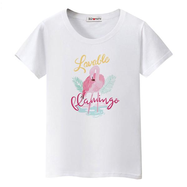 BGtomato Flamingo pembe tshirt güzel kuşlar t gömlek serin hayvan baskı t shirt kadın tişört femme yaz streetwear başında