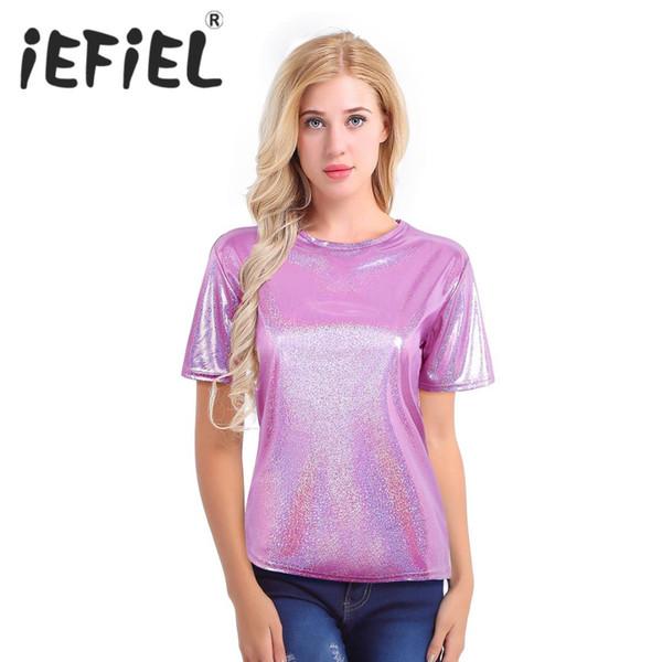 Mode Pailletten Frauen Weibliche Sparkly Shiny Metallic Rundhals Beiläufige Lose Kurze Bequeme Top T-shirt für Tägliche Party Tragen