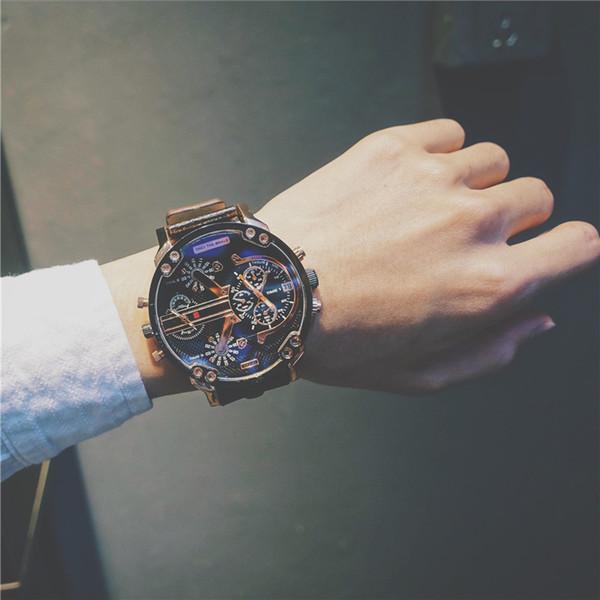 Big Dial Blue Ray Pantalla Dual Reloj Army Man Relojes Negro Marrón Banda de cuero Hombres de acero Hombre Reloj de cuarzo Relojes de pulsera Reloj Y19052103