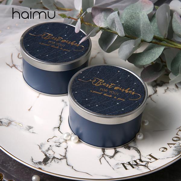 10pcs Piccolo Blu rotonda scatola di cerimonia nuziale decorazione di favore Packaging Il cioccolato della caramella contenitore di regali della confezione damigella d'onore del cliente Confezioni Regalo