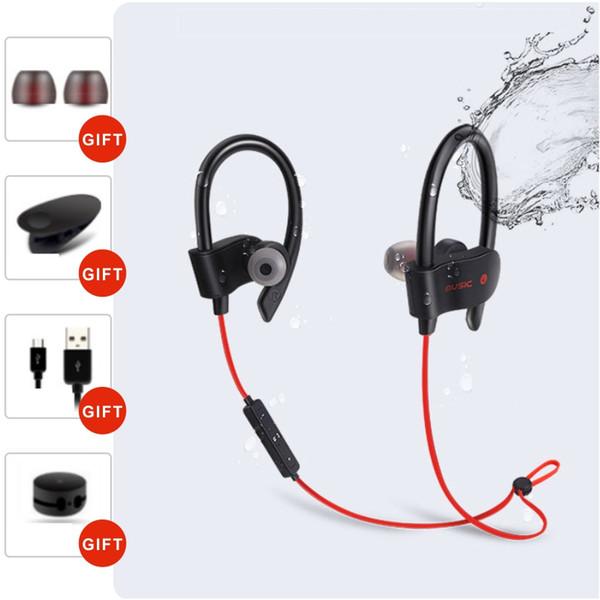 Waterproof Bluetooth Earphones Headphones Ear Hook Sports Bluetooth Headset Sports Running Headset Stereo Bass Earbuds Handsfree With Mic