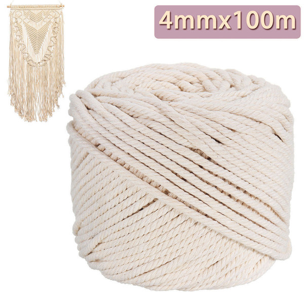 top popular 4mm*100m Natural Beige Macrame Cotton Rope Durable Twisted Cord DIY Home Textile Craf For Clothes Hat Curtain 3 2021