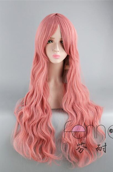 Europe and the United States long fake hair smoke pink long curly hair ladies oblique bangs 80CM Lolita wig