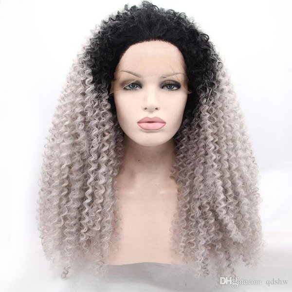 Серого синтетического парик фронт шнурок Ombre Glueless жаропрочного Afro Kinky завитого Синтетический парик фронт шнурок для женщин