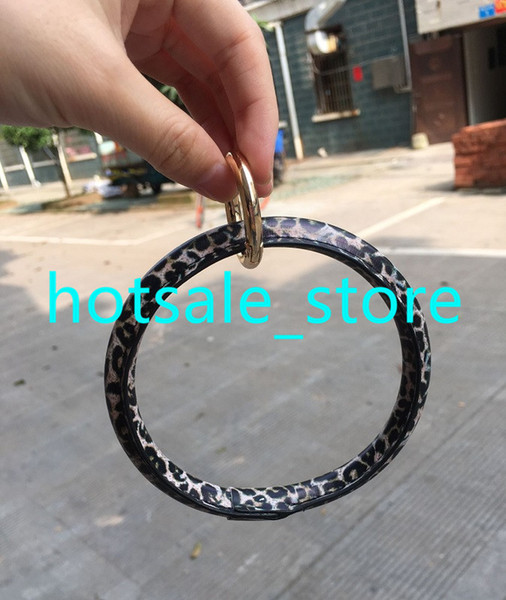 CA/US Hot Serape Leather Bracelet Keychain Sunflower Leopard Fashion Leather O Key Ring Custom Circle Bracelet Wristlet Keychain