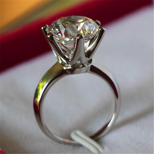 Plata maciza de 6CT Ronda Seis Prongs Solitaire Anillo de compromiso de diamante sintético para la Mujer joyería fina para la novia