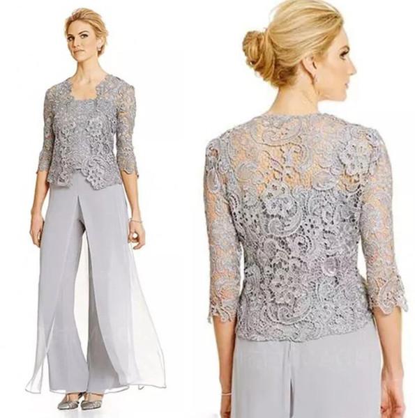 Zwei Stücke Mutter der Braut Hosenanzug Plus Size Braut Kleider Spaghetti Mütter Anzug Mit Spitze Jacke Mutter der Braut Anzüge