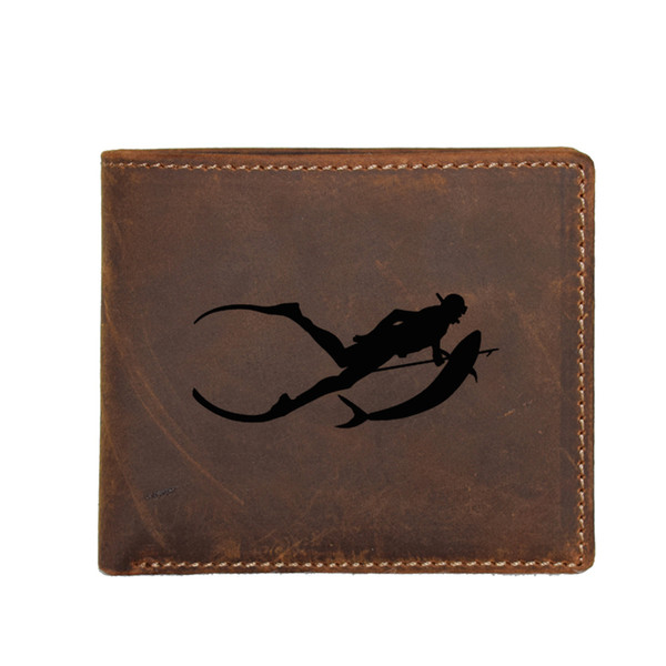 Free Diving Spear Fishing Snorkelling Engraved Picture Wallet Multi Card Holders Genuine Leather Coin Pocket Bags Men FRID Walle