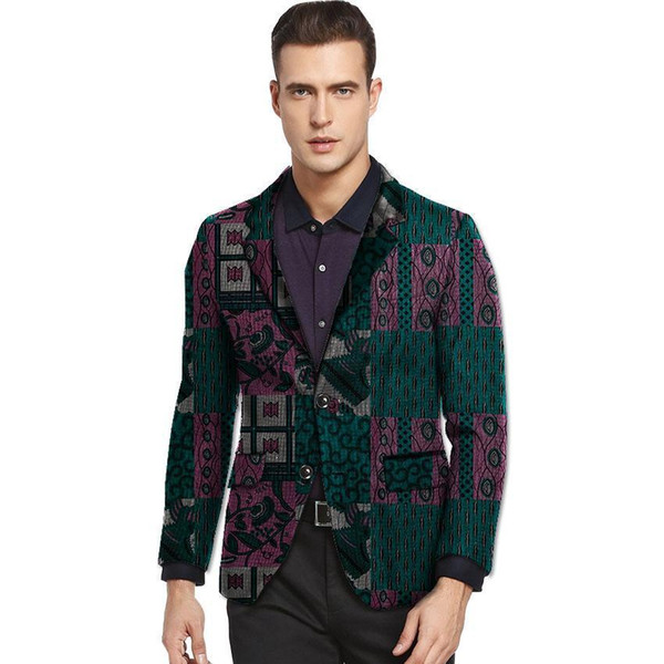 Pop 2019 Casual Men Ankara Blazer Leisure Dashiki Print Suit Jacket Custom For African Party/wedding Formal Man's Coat