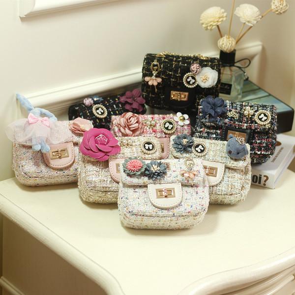 Kids Mini Purses and Handbags Woolen Princess Girls Messenger Bag Cute Flowers Baby Shoulder Bags Children Handbag Gift