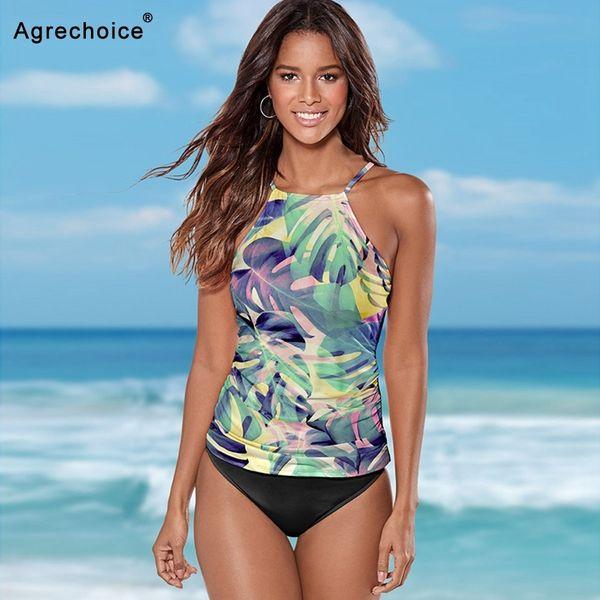2019 Plus Size Tankini Swimsuits Women Print Swimwear Two Piece Swimsuit Vintage Retro Bathing Suit Beach Wear Swimming Suit 3xl Y19072401