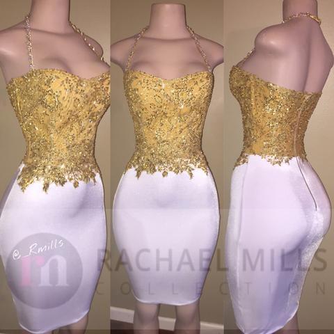 2019 New Little White Short Prom Kleider Gold Spitze Applizierte Top Neckholder Mantel Cocktailkleider Günstige Formelle Party Wear
