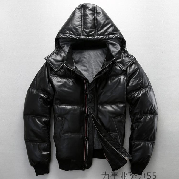 Thick leather down coats with hoody men bomber down jacket 100% Lamb skin body lining down jacket