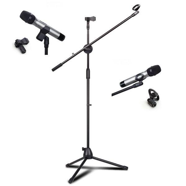 Profissional NB-107 Pedestal de Microfone de metal microfone duplo Titular do tripé ajustável de duas cabeças clipe Braço telescópico Suporte
