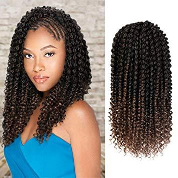 Crochet Hair Synthetic Senegal Twist Curly Goddess Hair Extension Ombre Curly Braiding Hair with Curly End 24Strands (1b/30)