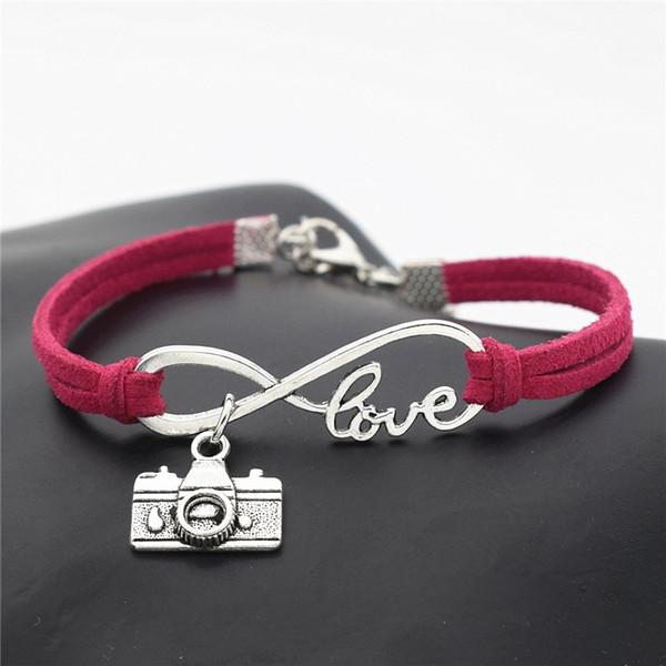 Simple Rose Red Leather Suede Rope Wrap Cuff Pulseras Brazaletes Aleación de plata Infinity Love Camera Colgante Charm Jewelry Para Hombres Mujeres Regalos