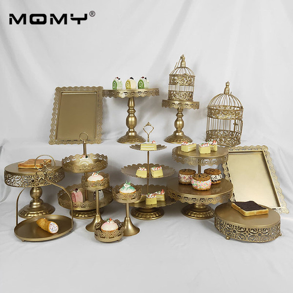 15 pcs Wedding Display 3 Tier Cupcake Set Tray Fruit 3-layer Gold Pink White Fancy Crystal Dessert Lace Cake Stand