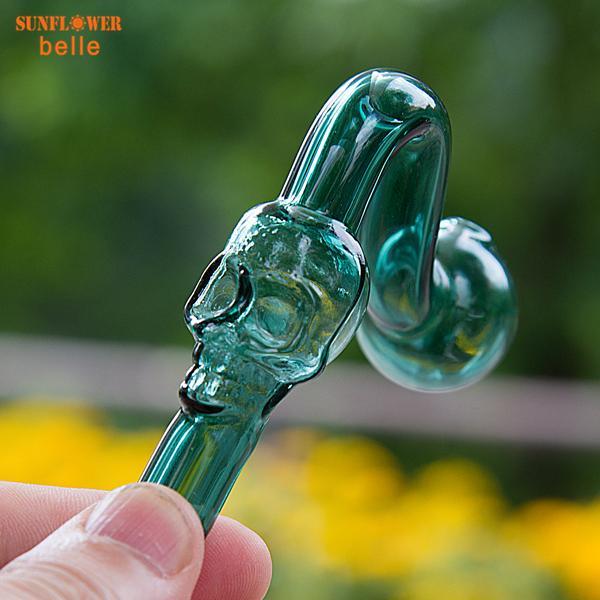 Schädel Glas Ölbrenner 14mm / 19mm Male Glass Dabber Rauchen Vaporizer Tool Wachs Öl Tupfen Rig für Wasserglas Bong 955