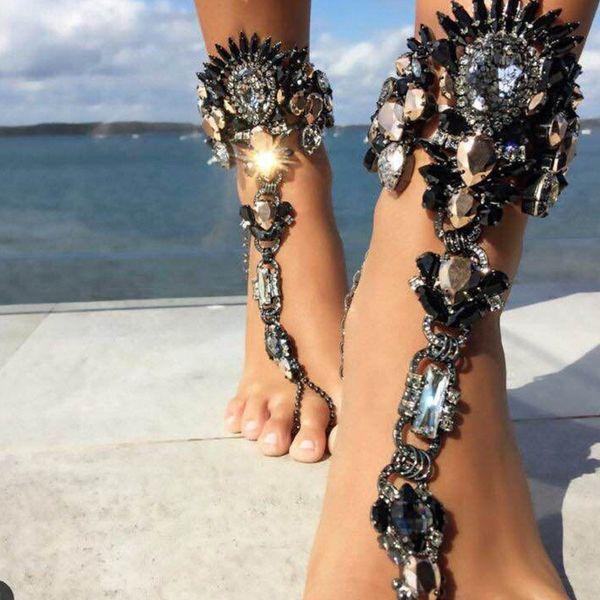 Pulsera de tobillo de moda para vacaciones en la playa Sandalias creativas Cadena de pierna sexy para mujer Joyería de pie de tobillera de cristal
