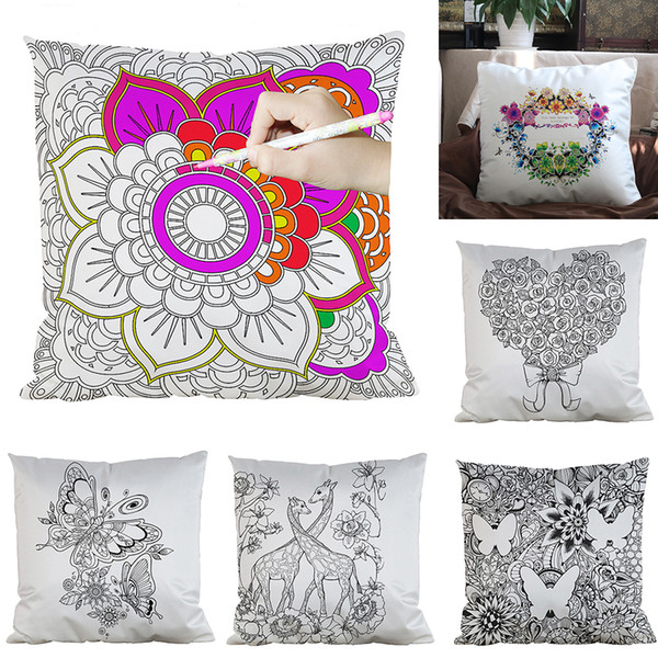 best selling 39 Styles DIY Painting Square Home Pillow Case Diy Flowers Cushion Cover Home Decorative Coloring Empty Pillowcase M1335