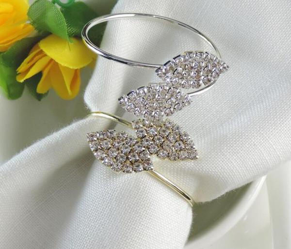 Leaf Shape Napkin Ring Diamond Exquisite High-End Silver Leaf Shape Napkin Rings Metal Napkin Holder Party Wedding Decoration
