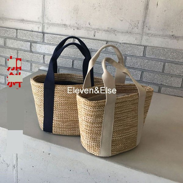 Summer New Ins Casual Straw Handbags Beach Bag Hand-woven Holiday Handbags Maternity Mommy One-shoulder Bag