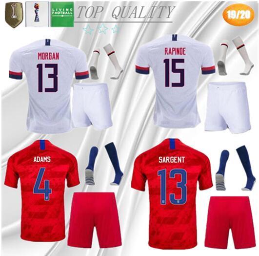 Kit adulto + meias 2018 2019 EUA PULISIC camisa de futebol 18 19 DEMPSEY BRADLEY ALTIDORE MORGAN América camisas de futebol Estados Unidos camisa