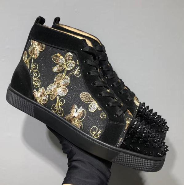 Designer de moda de luxo Red Bottom Studded Spikes Flats sapatos Para Mulheres Dos Homens de glitter Amantes Do Partido Sapatilhas de Couro Genuíno casual
