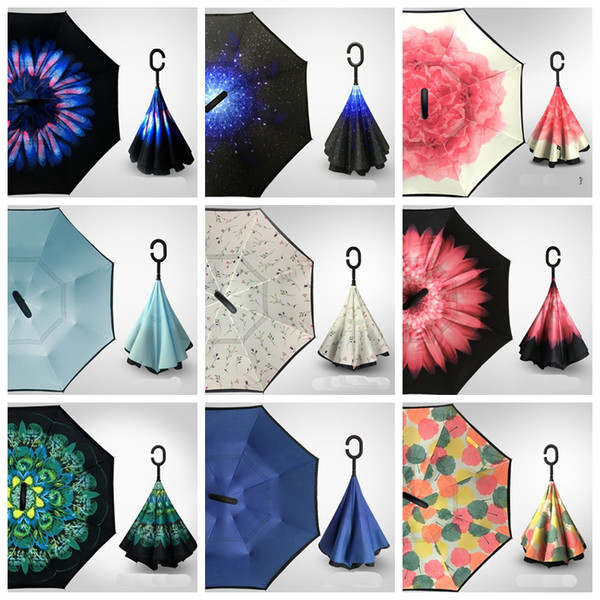 top popular 38 designs Folding Reverse Umbrella Double Layer Inverted Windproof Rain Car Umbrellas For girls fast shipping free 2019