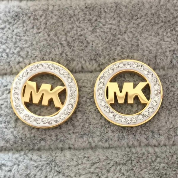 New arrival fa hion jewelry k tamp luxury women earring 316l titanium teel earring gold plated tud earring whole ale price, Golden;silver