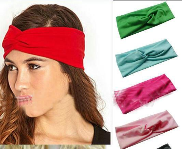 12pcs/lot Candy color cross Absorb sweat Women Boho Hair Head Wraps Accessories Fashion No Slip Wide sports yoga Hairband Headbands