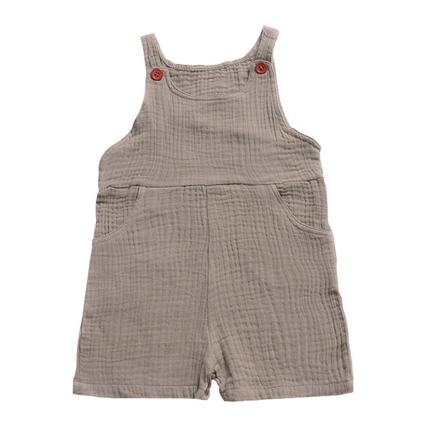 INS Pocket Button Baby Girls Overalls Pants Kids Girls Rompers Pant Plain Solid Toddler Outfits Sleeveless Belt Baby Girls Boys Bib Pants