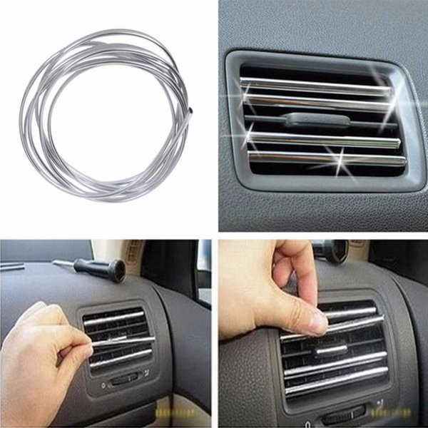 New 1/2M Car Interior Moulding Strips Decoration Line Door Dashboard Air Vent Steering-wheel Flexible Auto Accessories free shipping