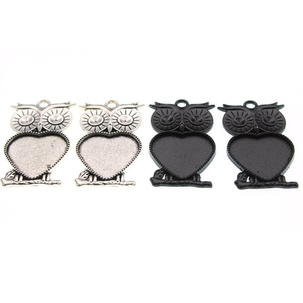 10pcs 20mm Inner Size Heart Glass Cabochon Base Setting Owl Necklace Pendant Antique Silver Black Color For DIY Jewelry Making