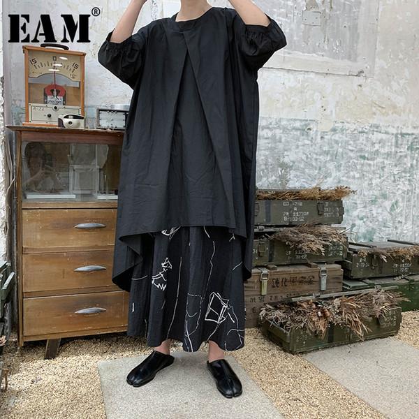 [EAM] 2019 Nova Primavera Verão Rodada Pescoço de Três Quartos Manga Branca de Volta Longa Solta Grande Tamanho T-shirt Das Mulheres Moda Maré JU498