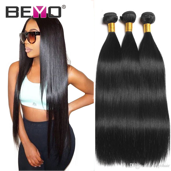 Beyo Straight Hair Bundles Extensions de cheveux vierges indiennes brutes Cheveux droits 4 faisceaux 30 pouces Remy peuvent acheter 3 pièces Beyo