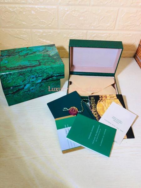 Casse di orologi di lusso per Rolexx Mens di marca Orologi Verde originale vera scatola di regalo in legno con scatola regalo