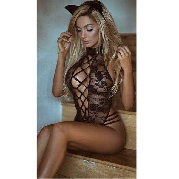 Plus Size 3XL Sexy Lingerie Costume Hot Black Transparent Women Sexy Lace Open Bra Teddy Lingerie Cosplay Cat Uniform M1006