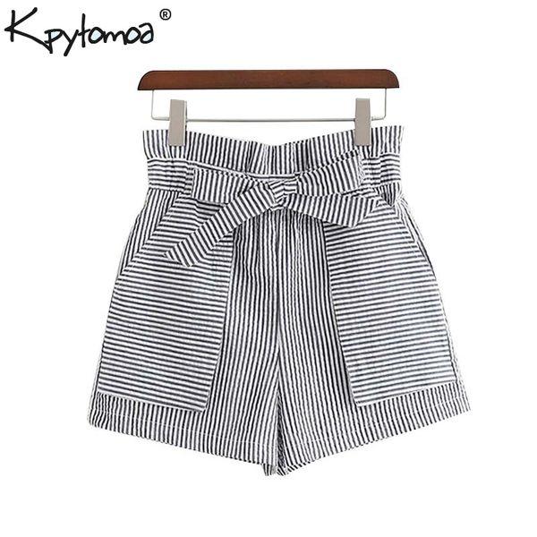Vintage Stylish Striped Bow Tie Sashes Shorts Women 2019 Fashion High Elastic Waist Pockets Short Pants Casual Pantalones Mujer