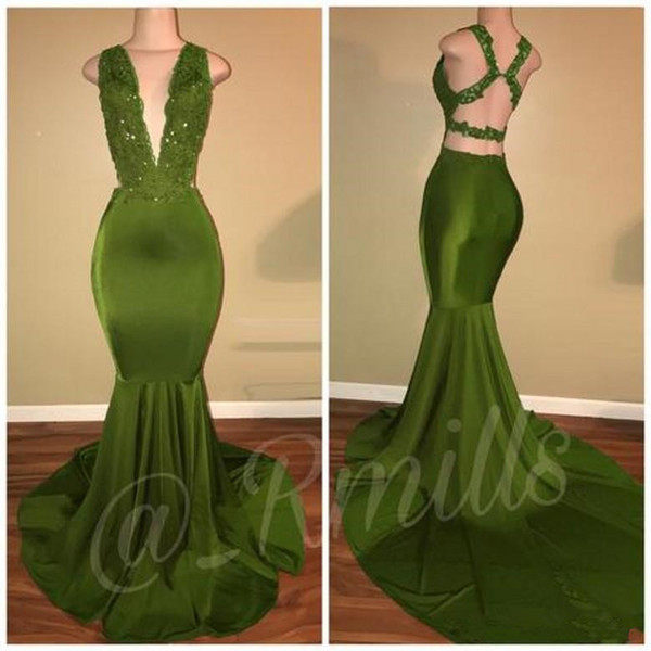 Sexy Criss Cross Back Olive Green Mermaid Prom Dresses 2019 Deep V Neck Appliques Sequins Long Evening Gowns Vestidos de fiesta