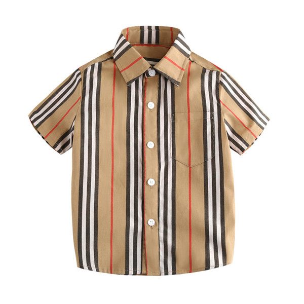 Cotton Boy T-Shirts Summer Short Sleeve Kids Shirts England Style Breathable Baby Shirts High Quality Kid Tops