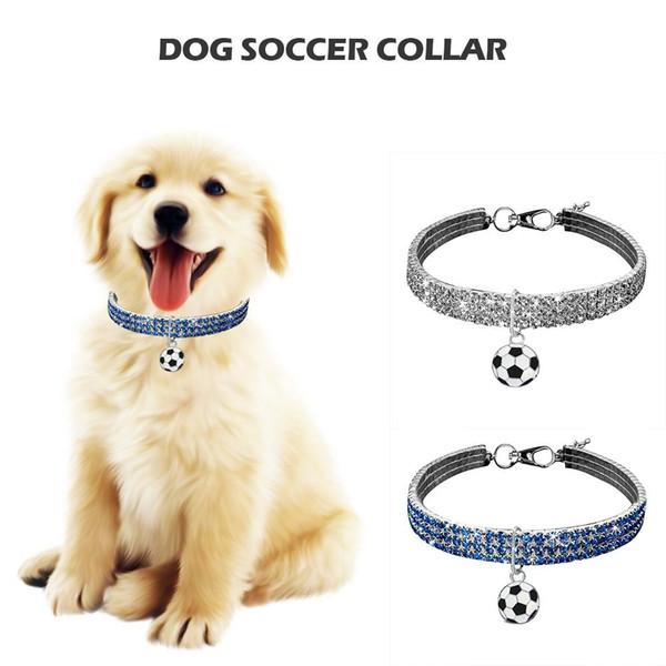 Hund Fußball Anhänger Kristall Kragen Hund Fußball Fliege Strass Halskette Für Bomei 3 Farbe Strass Bohrer Outdoor Kragen