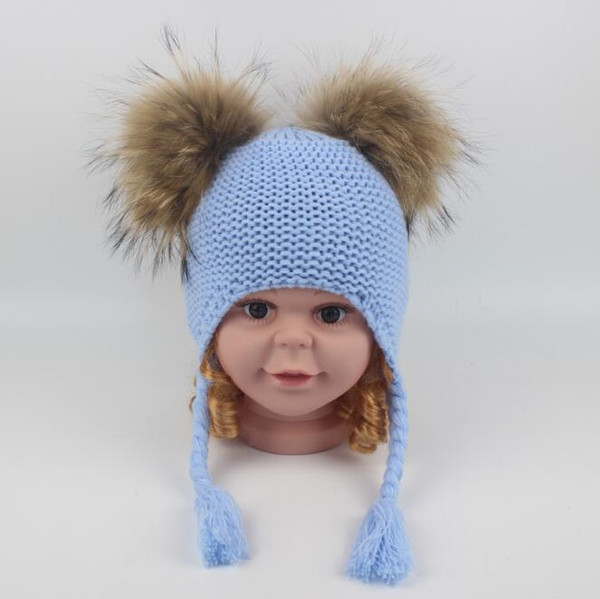 6 Colors Children Cute Winter Hats Two Faux Raccoon Fur Pompom Hat Boy Knitted Cap Warm Ears Earflap Thick Kids Beanies CCA10951 10pcs