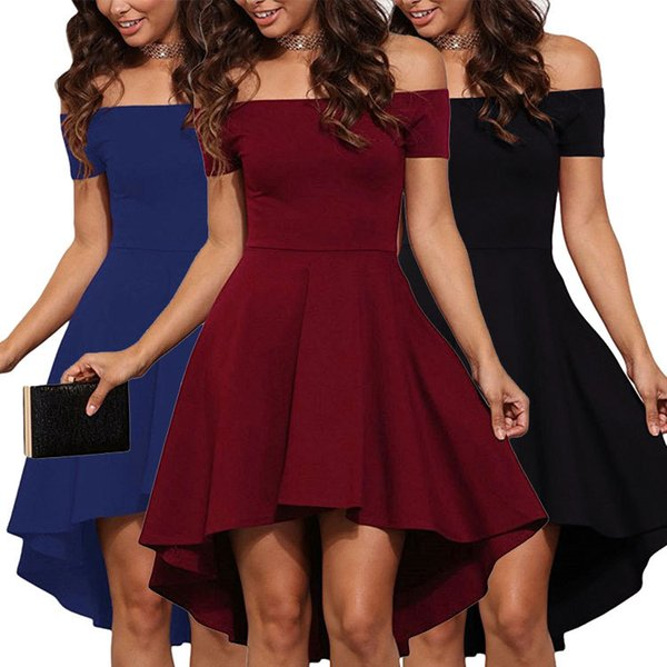 Women's Dress A Word Shoulder Posed Dovetail Skirt Dress with Short Sleeves