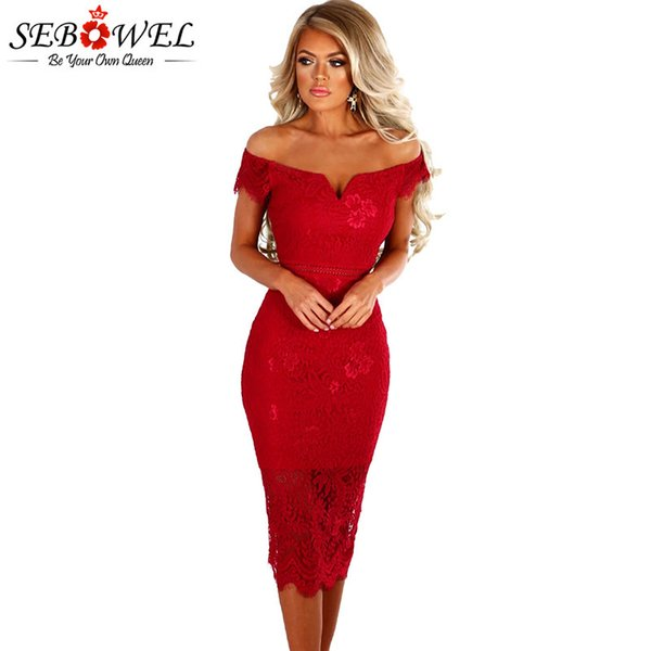 Sebowel 2019 Sexy Red Lace Bardot Party Midi Dress Women Short Sleeves Off Shoulder Bodycon Dresses Ladies Slash Neck Club Wear S322