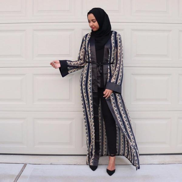 Islam Lungo Chiffon Abaya Per Le Donne Bangladesh Abaya Dubai Cardigan Abito Hijab Musulmano Jilbab Caftano Abbigliamento Islamico Turco