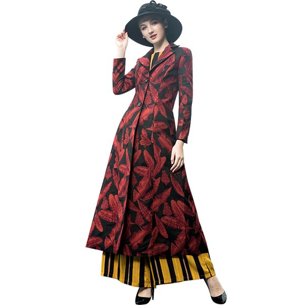 Jacquard Trench Coat Long Sleeve Plus Size Single Breasted Women Overcoat Elegant High Quality Flowers Slim Fall Outwear 9072