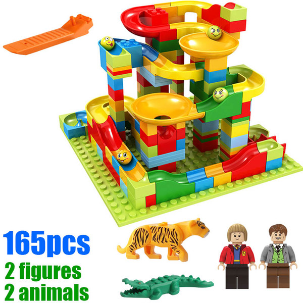 165pcs with gifts Small Size Marble Run Set Puzzle Maze Race Track Game Toy Roller Coaster Construction Building Block Brick Toy